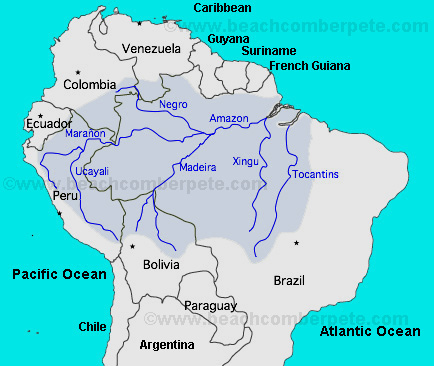 Amazon River South America, Map of Amazon River,