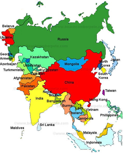 Asia, Map of Asia, Asia Countries, Countries of Asia Beachcomber ...