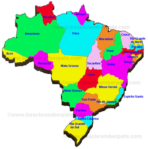 Brazil States And Capitals Travel Information Beachcomber Pete - Brazil states map