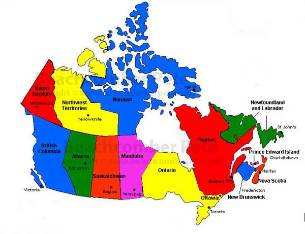 Map Of French Canada.Canada North America Beachcomber Pete Travel Adventures