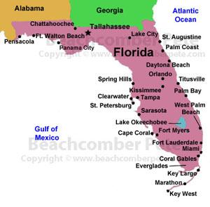 Florida Map Beaches.Florida Coastal Regions Map Of Florida Coastal Regions Travel