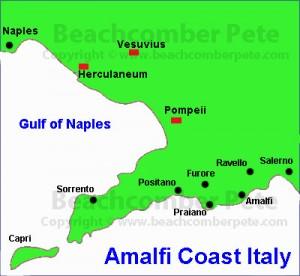 Map of Amalfi Coast Italy