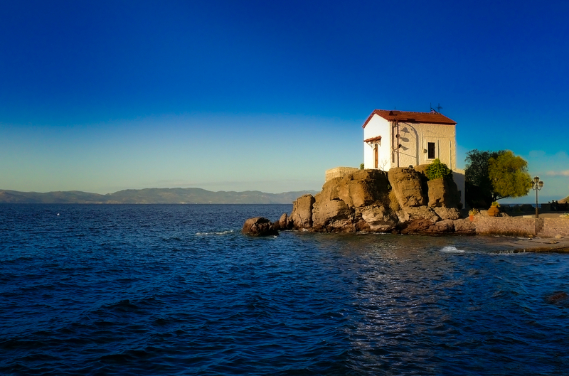Little Chaple in Village of Skala Sykaminias, Lesbos, Greece