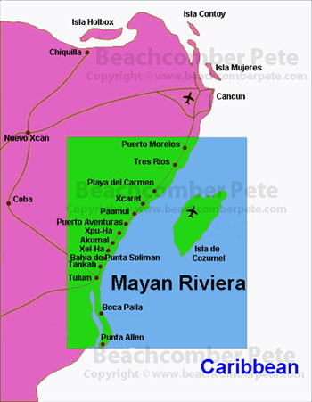 Map of Mayan Riviera, Mexico