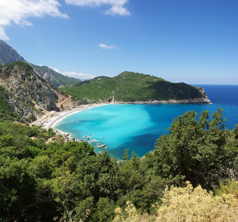View of a beach from above in Evia, Eboea, Greece