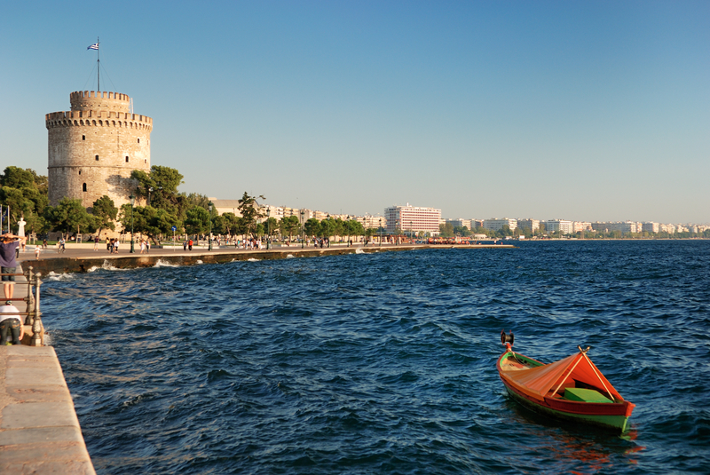 White Tower, along waterfront in Thessaloniki, Greece