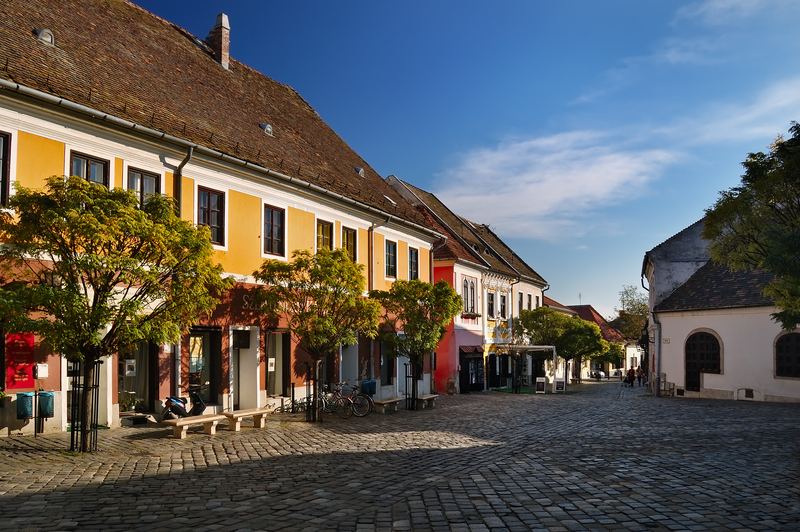 Palette of homes in Szentendre, Hungary
