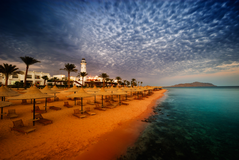 Sunset and turquoise ocean in Sharm el Sheikh, Egypt