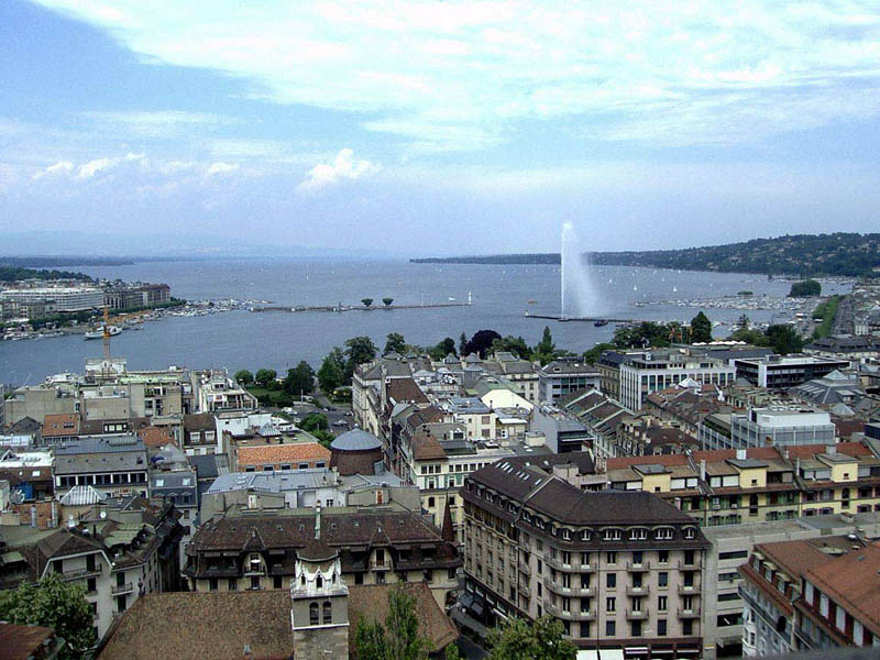 Lake Geneva and Geneva Switzerland