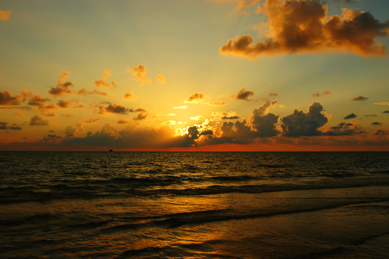 Sunset at Naples Beach, Gulf of Mexico, Florida