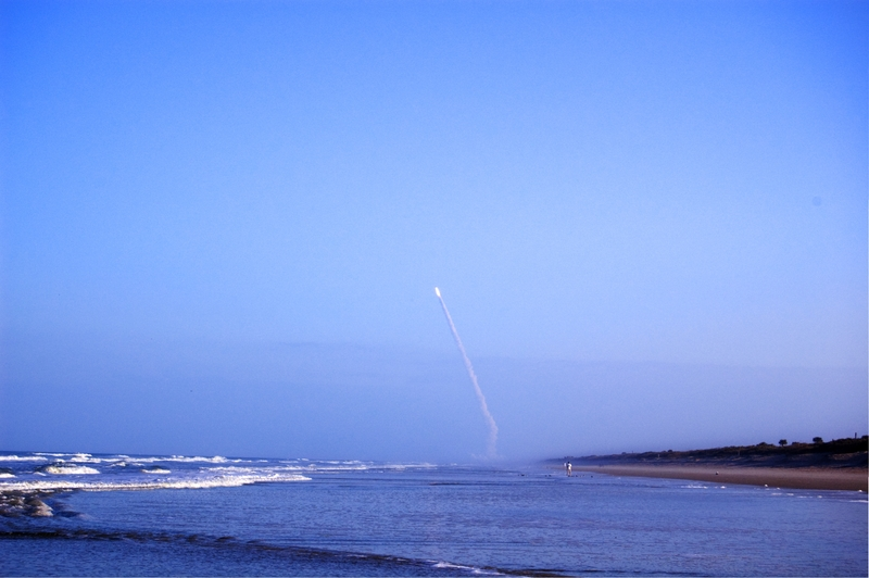 Space shuttle launch at Kennedy Space Center, taken from Canaveral National Seashore, Florida