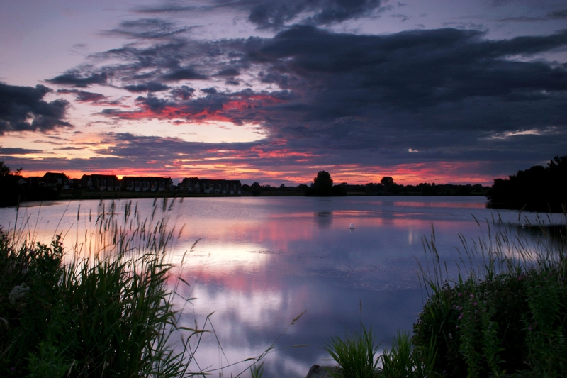 Craigavon lakes, Armagh, Northern Ireland at sunset