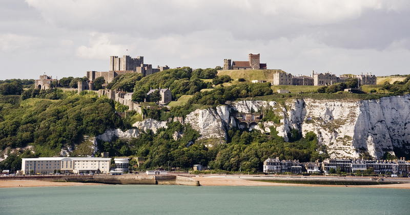 Dover Castle and White Cliffs of Dover, England