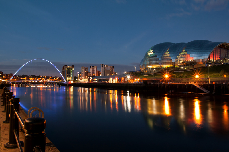 Newcastle at Night with Millennium bridge, Newcastle, England