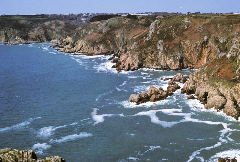 Rocky coast in Guernsey island, English Channel, Europe