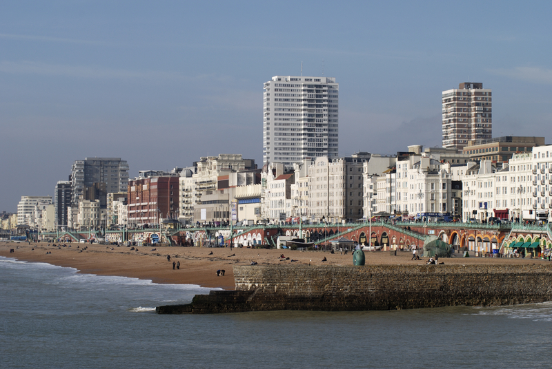 Seafront and beach viewed from the Palace Pier. Brighton. East Sussex. England