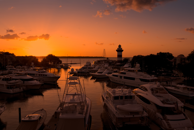 Sun setting in a marina in Hilton Head Island, South Carolina