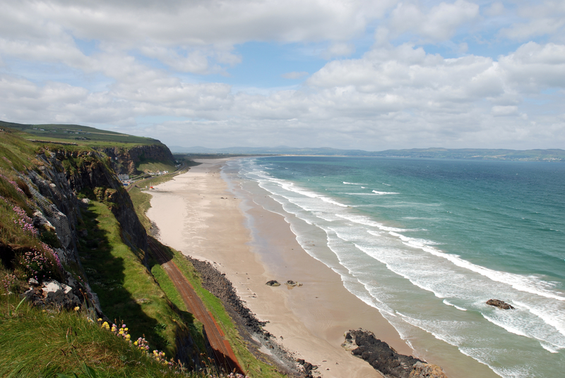 The beach and coastline at Downhill on the Derry coast of Northern Ireland.