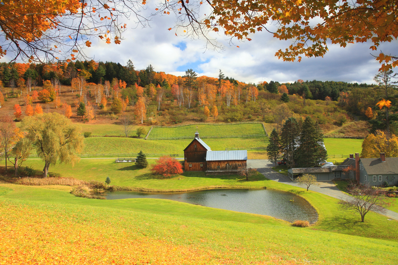 Vermont Farm in Autumn, Vermont, United States
