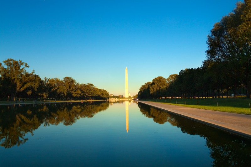 Washington monument in front of reflecting pool, Washington D.C