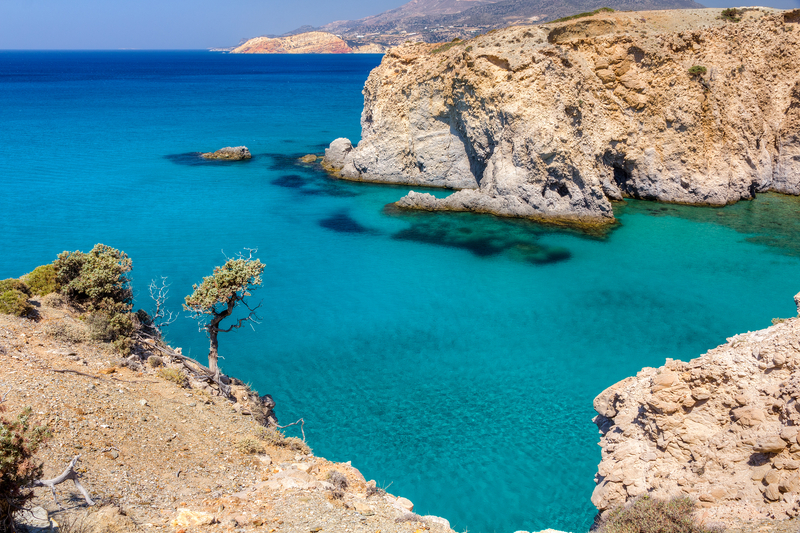 Beautiful coastline with turquoise waters near Tsigrado, Milos island, Cyclades, Greece