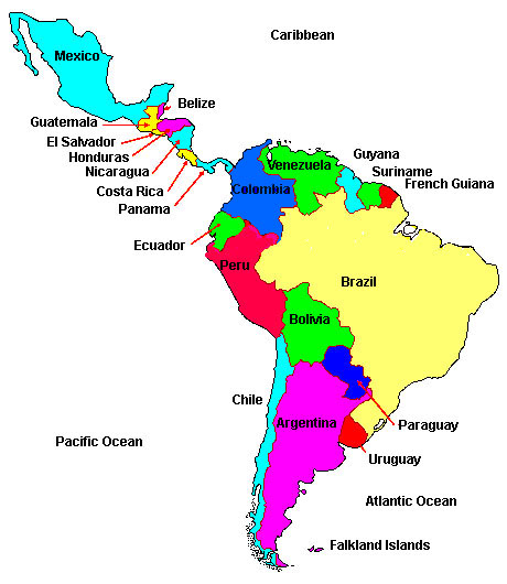 Latin America Map Map of Latin America Map of Latin America Countries
