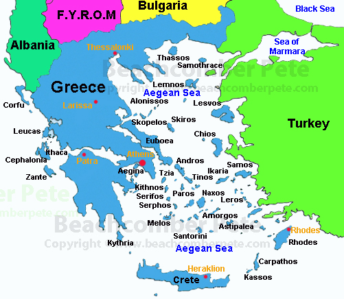 Map of Greece Beachcomber Pete Greece Maps on