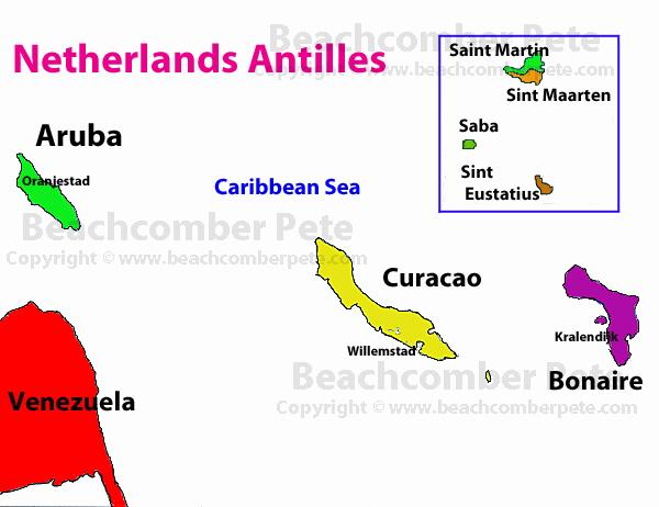Netherlands Antilles Travel Information Beachcomber Pete Travel - Netherlands antilles map