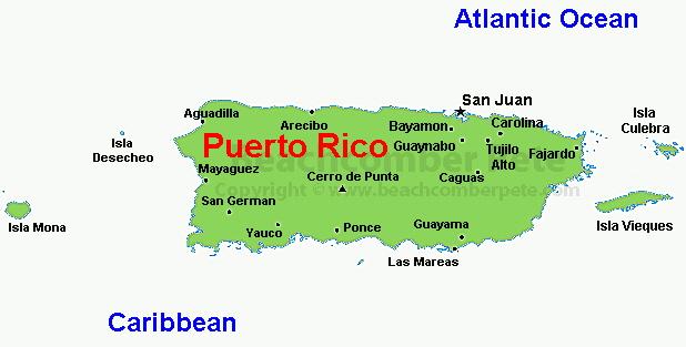 Puerto Rico Travel Information Beachcomber Pete Travel Adventures - Puerto rico map
