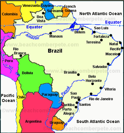 map of rivers in brazil Brazil Travel Information Beachcomber Pete Travel Adventures map of rivers in brazil