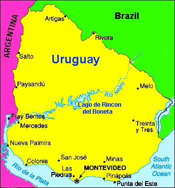 Uruguay Travel Information Beachcomber Pete Travel Adventures - Uruguay map