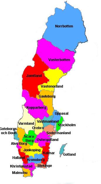 SwedenBeachcomber Pete Travel - Sweden map mountains