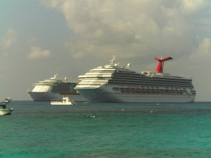 Royale Caribbean and Carnival Cruise ships Grand Cayman  Island