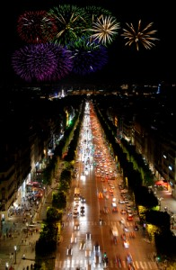 Champs Elysees at Night and Fireworks Paris France