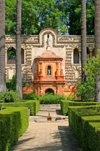 Garden in Alcazar, Seville Spain