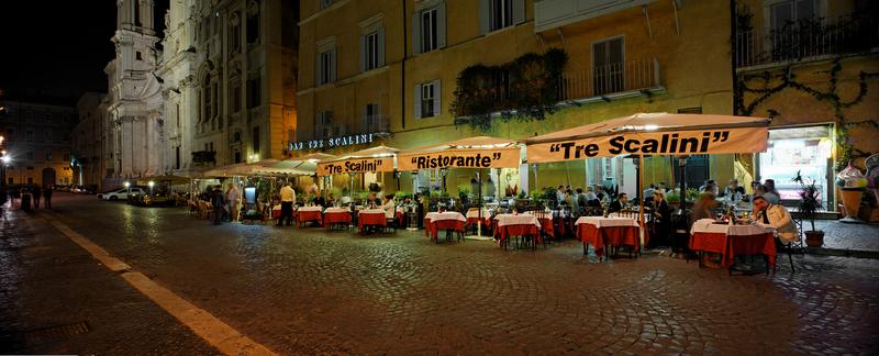 Tre Scalini, street dining Rome, Italy