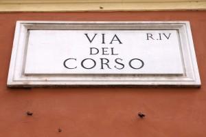 Via Del Corso street sign, Rome Italy