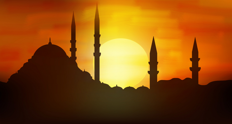 Sunset and Minarets over Istanbul, Turkey