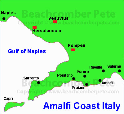 Map of Amalfi Coast Italy