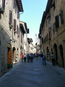 Narrow streets of San Gimignano, Italy