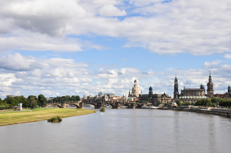 River Elbe and the city of Dresden, Germany