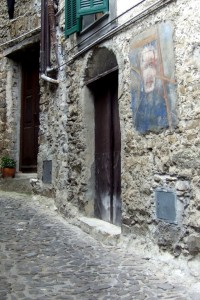 Apricale art on walls, Liguria, Italy