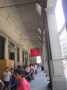 Waiting line to enter Uffizi Museum, Florence Italy