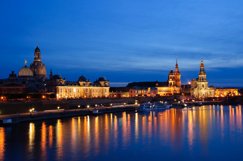 Night view of Dresden Germany