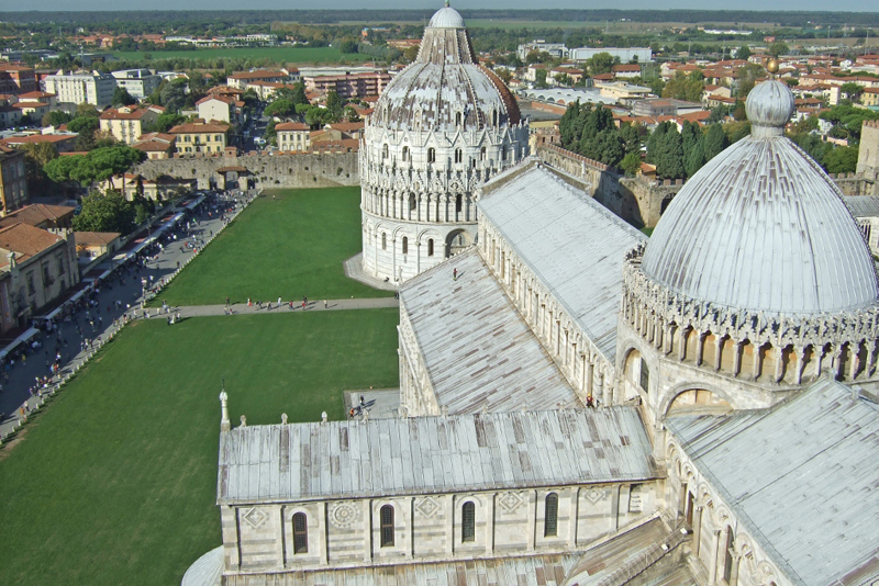 View from the top, Leaning Tower of Pisa, Italy