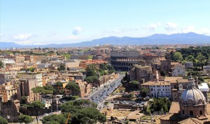 View from the top of Vittorio Emanuele II in Rome