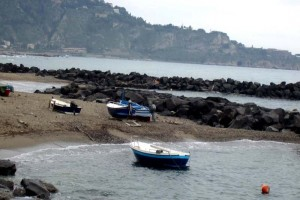 Giardini Naxos Boats along the seashore, Sicliy, Italy