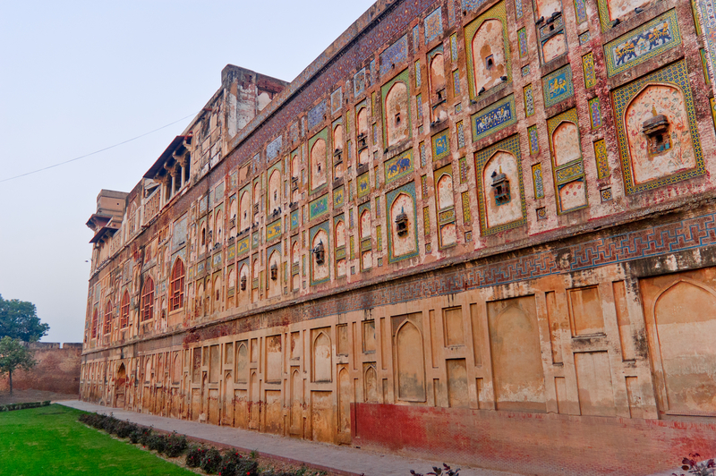 Magnificent wall of Lahore Fort, Lahore, Pakistan