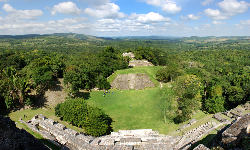 The panoramic view of Xunantunich (Stone Lady) archaeological site in Belize