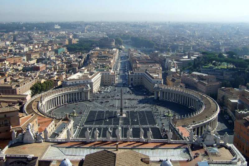View of Piazza san Pietro from cupola of St Peter's Vatican City, Italy